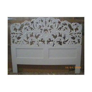 DECO PRIVE - tete de lit en bois blanc sculpte elise - Tête De Lit