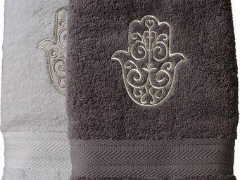 SIRETEX - SENSEI - serviette invité 30x50cm brodée main de fatma 550g - Serviette Invité