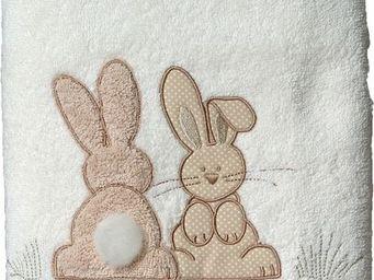 SIRETEX - SENSEI - serviette 50x100cm brodée pompon le lapin - Serviette De Toilette Enfant