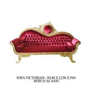 DECO PRIVE - canape baroque en bois dore et velours rouge model - Canap� 3 Places