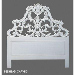 DECO PRIVE - tete de lit baroque en bois blanc sculptee 160 cm - Tête De Lit