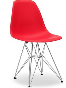 Charles & Ray Eames - chaise rouge dsr charles eames lot de 4 - Chaise Réception