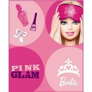 BARBIE - plaid barbie pop 130 x 160cm rose - Plaid Enfant