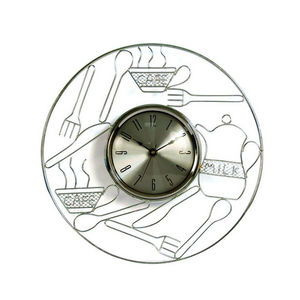 WHITE LABEL - horloge de cuisine en métal chromé - Pendule Murale