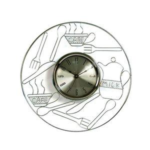 WHITE LABEL - horloge de cuisine en m�tal chrom� - Pendule Murale