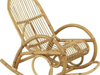 Aubry-Gaspard - fauteuil en manau non écorcé rocking 60x108x92cm - Rocking Chair