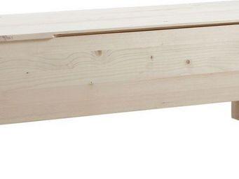 BARCLER - coffre de rangement en bois brut 117,5x42x41,5cm - Coffre