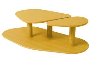 MARCEL BY - table basse rounded en chêne jaune citron 119x61x3 - Table Basse Forme Originale