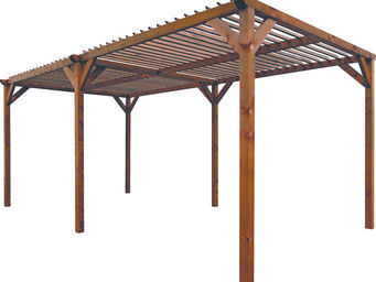 jardindeco - pergola paloma en pin teint� brun amazone 268x505x - Pergola