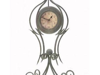 L HERITIER DU TEMPS - pendule en fer patin� vert 77cm - Horloge � Poser