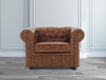 BELIANI - fauteuil en cuir brun old style chesterfield - Fauteuil Chesterfield