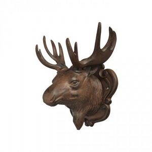Demeure et Jardin - tête d'elan en fonte - Sculpture Animalière