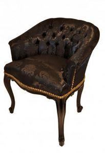 Demeure et Jardin - fauteuil crapaud damas noir - Fauteuil Crapaud