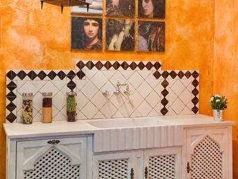 PROVENCE ET FILS - cuisine safran / avec plan & evier marbre-sans rem - Meuble De Cuisine
