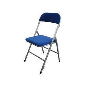 DECO PRIVE - chaise pliante argent et velours bleu - Chaise Pliante