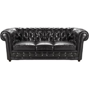 DECO PRIVE - canap� chesterfield cuir by cast 3 places noir - Canap� Chesterfield