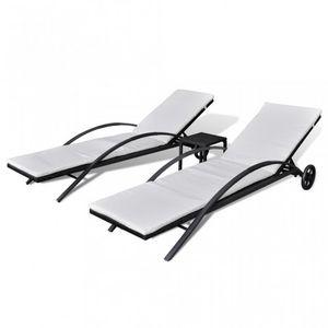 WHITE LABEL - lot de 2 transats de jardin noir + table - Chaise Longue De Jardin