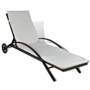 WHITE LABEL - transat de jardin relax marron - Chaise Longue De Jardin