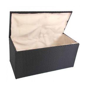 WHITE LABEL - coffre de jardin 118cm noir rangement avec housse - Coffre De Jardin
