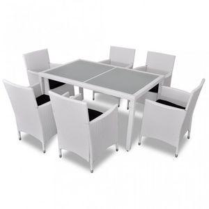 WHITE LABEL - salon de jardin avec table + 6 chaises - Salle À Manger De Jardin