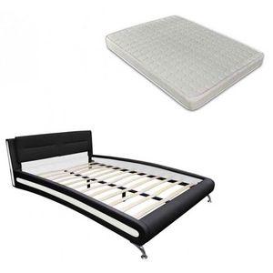 WHITE LABEL - lit cuir 180 x 200 cm noir + matelas - Ensemble Literie