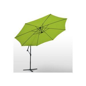 WHITE LABEL - parasol d�port� de 3,5 m vert + housse - Parasol Excentr�
