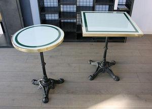 Ardamez - table de bistrot émaillée bleu / laiton / fonte - Table Bistrot