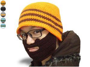 WHITE LABEL - drôle de bonnet à barbe rayé bleu et kaki foncé, b - Bonnet