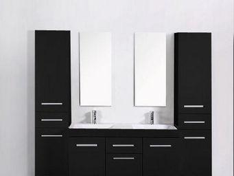 UsiRama.com - meuble double vasques think noir 2 colones 1.8m - Meuble Double Vasque