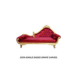 DECO PRIVE - méridienne baroque en bois doré et velours rouge g - Méridienne