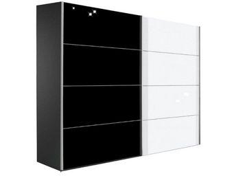 WHITE LABEL - dressing kick 202cm en verre blanc brillant et mel - Armoire � Portes Coulissantes