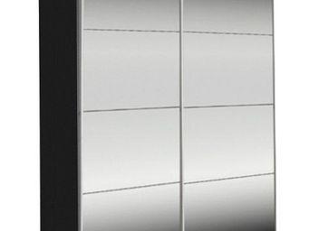WHITE LABEL - dressing kick 152cm miroir et cadre noir avec port - Armoire � Portes Coulissantes