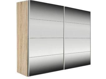 WHITE LABEL - dressing kick 252cm miroir et cadre chene avec por - Armoire � Portes Coulissantes