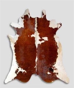 WHITE LABEL - tapis de peau de vache marron blanc naturel - Peau De Vache