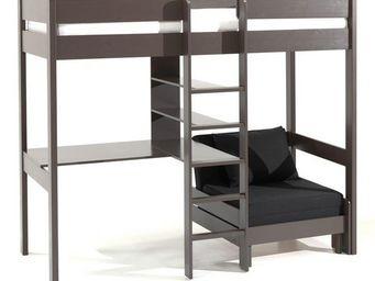 WHITE LABEL - lit mezzanine avec fauteuil pino en pin vernis tau - Lit Mezzanine