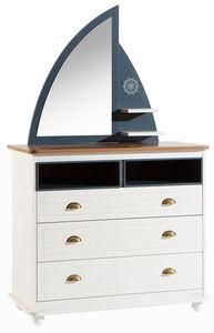 WHITE LABEL - commode 3 tiroirs design marin coloris blanc et bl - Commode Enfant