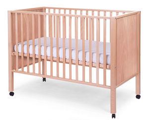 WHITE LABEL - lit bébé avec roulettes 60x120cm coloris hêtre nat - Lit Pliant Bébé