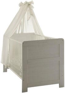WHITE LABEL - lit bébé à barreaux coloris pin blanc - Lit Pliant Bébé