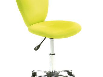 WHITE LABEL - chaise de bureau pour enfant pivotante coloris ver - Chaise De Bureau