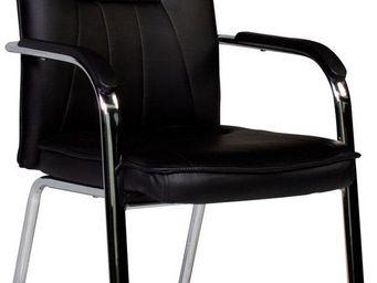 WHITE LABEL - chaise moderne coloris noir et acier chromé - Chaise De Bureau