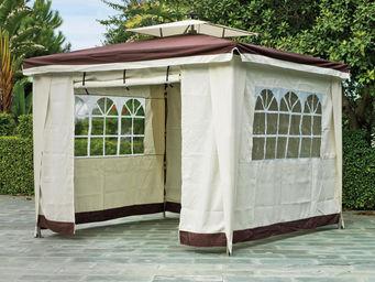 HEVEA - tonnelle jardin rideaux ecru marron sidney - Tonnelle