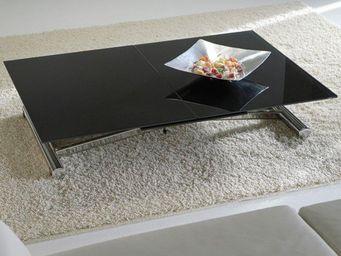 WHITE LABEL - lift cristal table basse relevable extensible en v - Table Basse Relevable