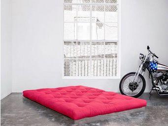 WHITE LABEL - matelas futon coco rose 160*200*16cm - Futon