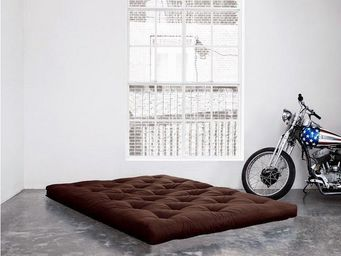 WHITE LABEL - matelas futon coco marron 200*200*16cm - Futon