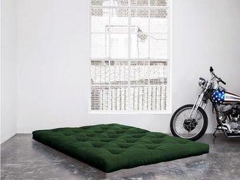 WHITE LABEL - matelas futon coco vert 200*200*16cm - Futon