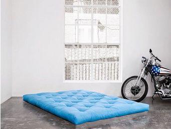 WHITE LABEL - matelas futon double latex bleu azur 120*200*18cm - Futon