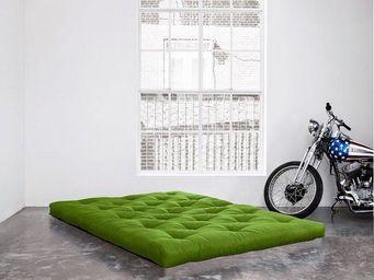 WHITE LABEL - matelas futon double latex vert lime 140*200*18cm - Futon