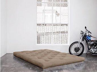 WHITE LABEL - matelas futon double latex taupe 140*200*18cm - Futon