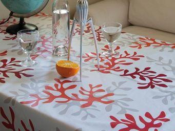 FLEUR DE SOLEIL - corail rouge - Nappe Enduite