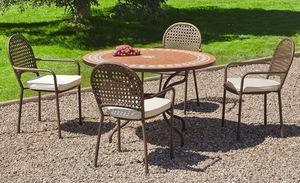 HEVEA - salon de jardin table ronde et fauteuils 4 places - Salle À Manger De Jardin
